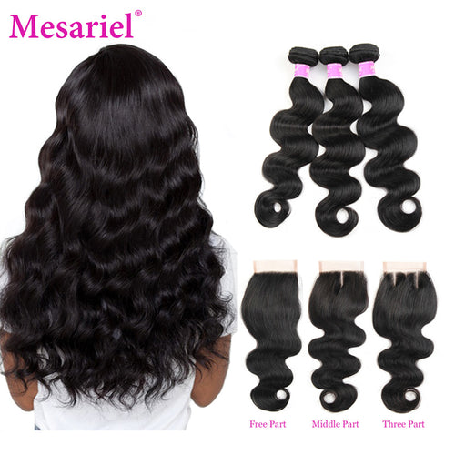 Mesariel Body Wave Bundles With Closure Peruvian Hair 3 Bundles With Closure Non-Remy Human Hair Extension Bundles With Closure