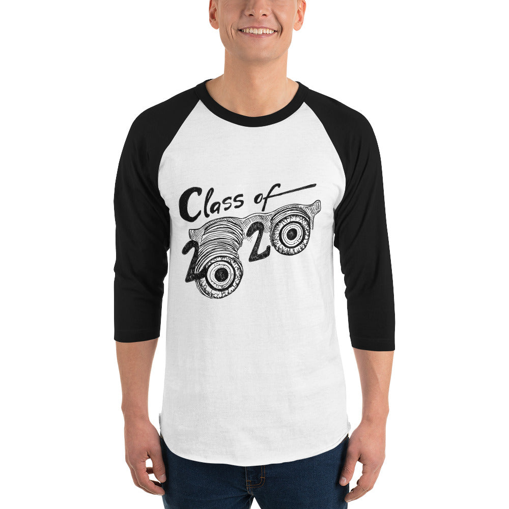 Class of 2020 Goofball Glasses Grad 3/4 Sleeve