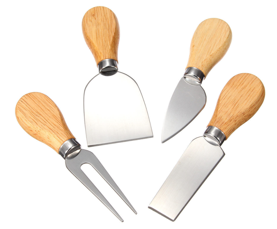 Set of 4 stainless steel & oak cheese knives