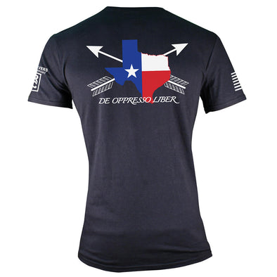 Back of TRCC Texas edition ODA t-shirt. Black T-shirt with the state of Texas in red, white and blue print with Arrow crossing through the print.