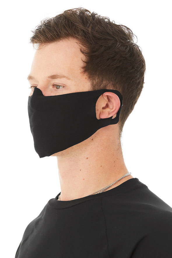 man wearing black face cover