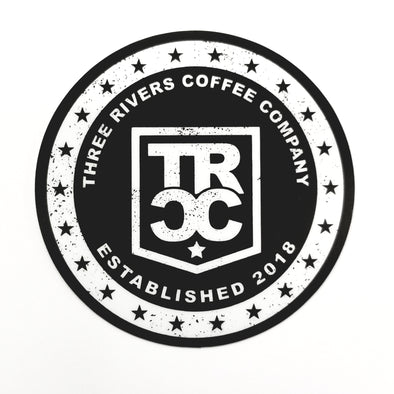 TRCC 22 stars circle sticker logo in white and back print.
