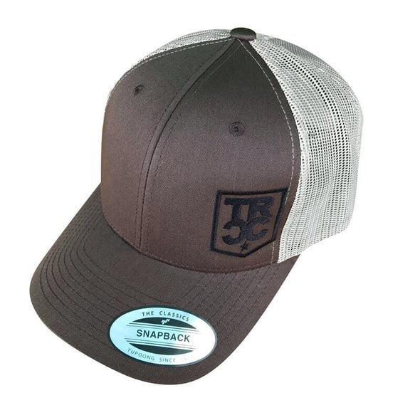 TRCC Trucker Hat With Shield Logo, Mesh Snapback, Brown