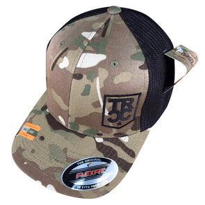 Three Rivers Coffee Company Multicam flex-fit hat embroidered with the TRCC shield logo on front left.