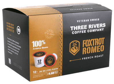 Three Rivers Coffee Company Foxtrot Romeo Coffee Pods 12 Pack Front