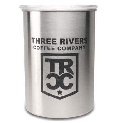 TRCC airscape coffee container with lid with TRCC shield logo.