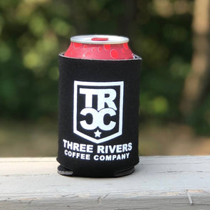 TRCC Black Koozie With Logo - Three Rivers Coffee Company