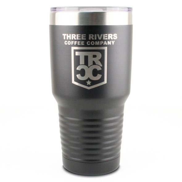 Three Rivers Coffee Company 30 oz Stainless Steel Tumbler with TRCC logo