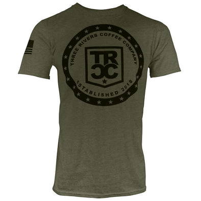 Men OD Green 22-Stars TRCC T-Shirt with black lettering and flag on right sleeve
