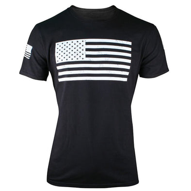 Three Rivers Coffee Company Flag T-Shirt. White Printed flag on front of shirt with white flag printed on right sleeve.