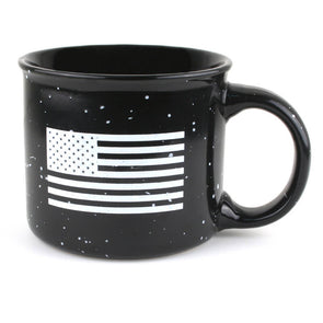 22 Stars Flag Coffee Mug with american flag in white on one side and TRCC 22 stars logo printed on other side.