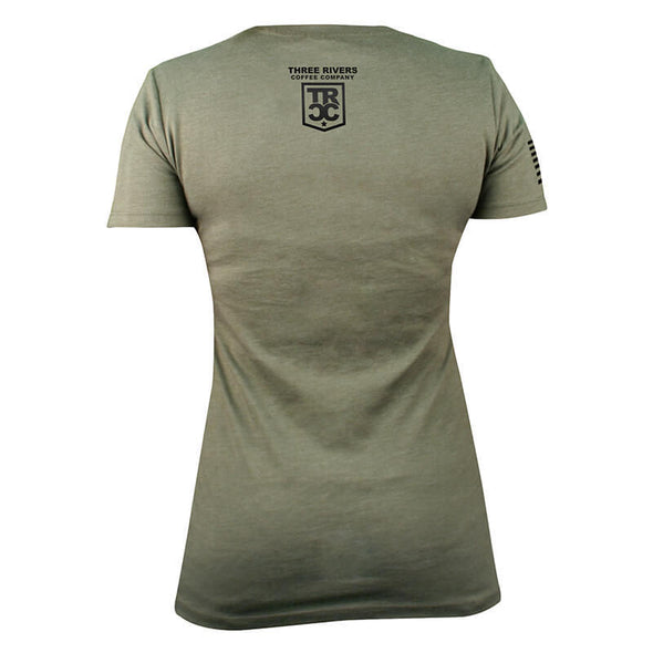TRCC Women's 22-Stars Logo T-Shirt, Back, Military Green