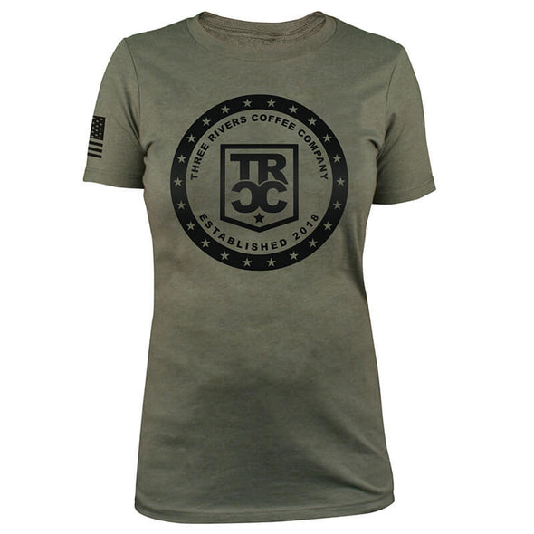 TRCC Women's 22-Stars Logo T-Shirt, Front, Military Green