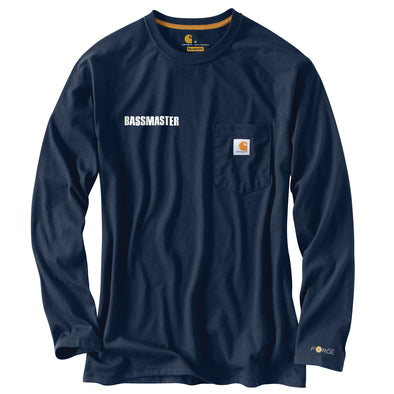 Carhartt Force® Cotton Delmont Navy Long-Sleeve T-Shirt