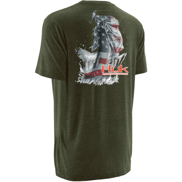 Huk® KC Scott American Bass Heather Green T-Shirt