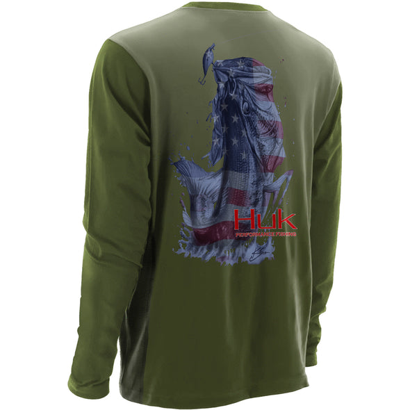 Huk® KC Scott Performance American Bass Military Olive Long Sleeve T-Shirt