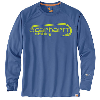 Carhartt® Force Fishing Graphic Federal Blue Long-Sleeve T-Shirt