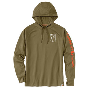 Carhartt® Force Fishing Graphic Military Olive Long-Sleeve Hooded T-Shirt