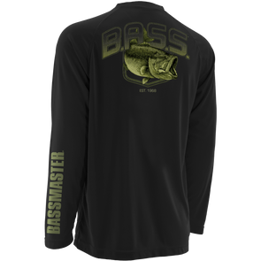 Huk Bassmaster Big Bass Black Raglan Long Sleeve T-Shirt