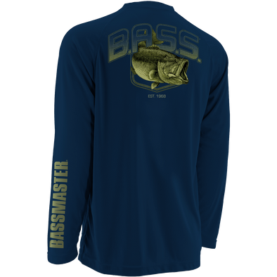 Huk Bassmaster Big Bass Navy Raglan Long Sleeve T-Shirt