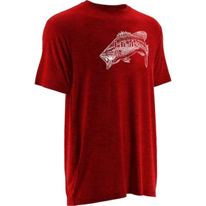 Huk® Inked Bass Heather Red T-Shirt
