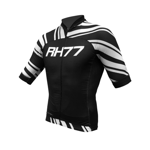 RH77 Black / White Stripe Pro Skin Cycling Jersey