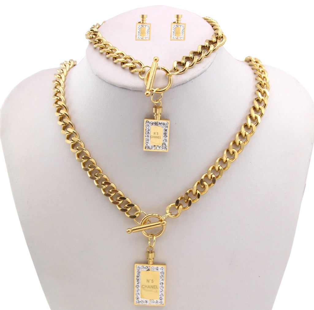 Chanel No 5 Rhinestone Necklace Hand Band and Earring Set