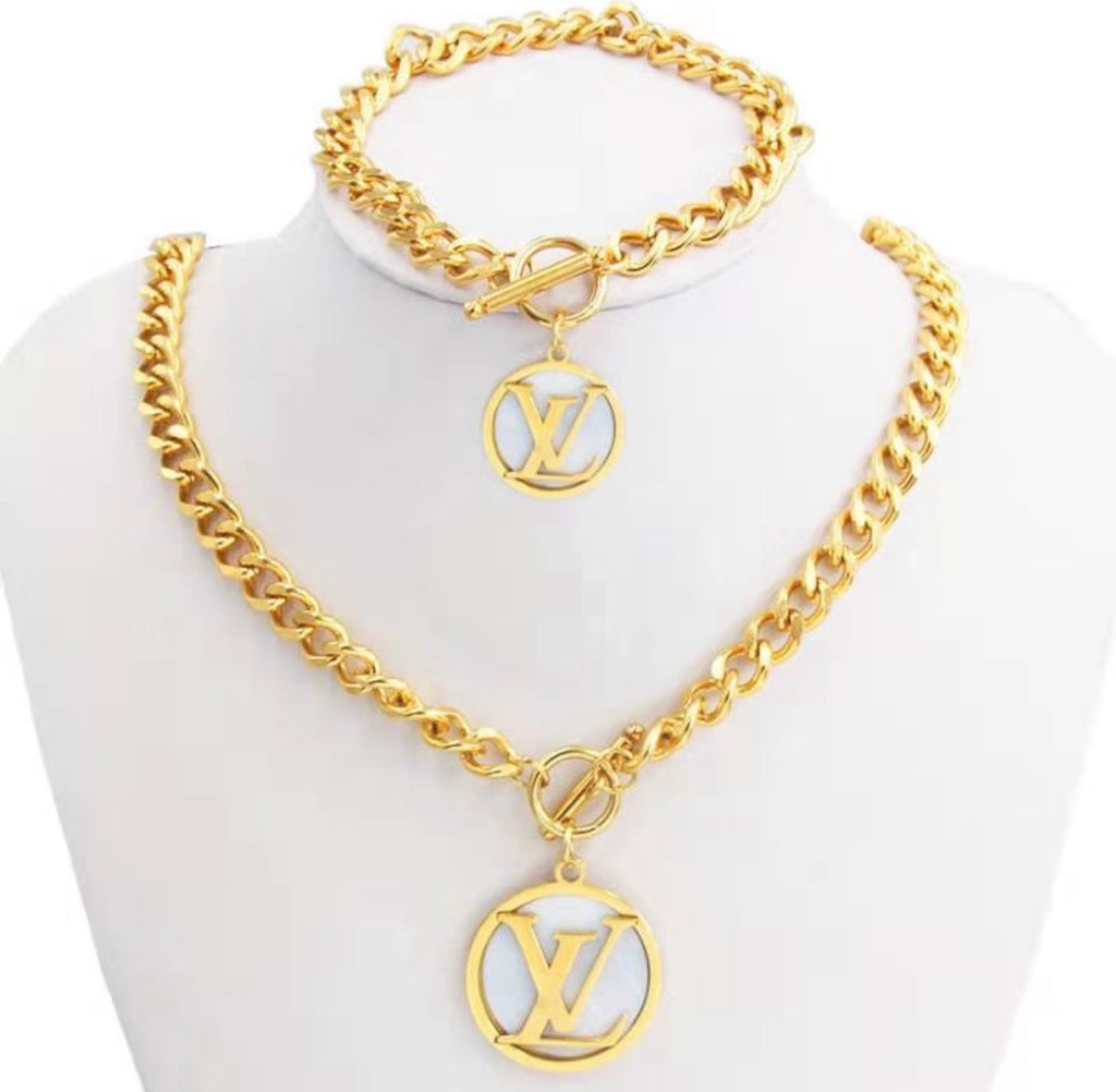LV Gold and White Necklace and Hand band