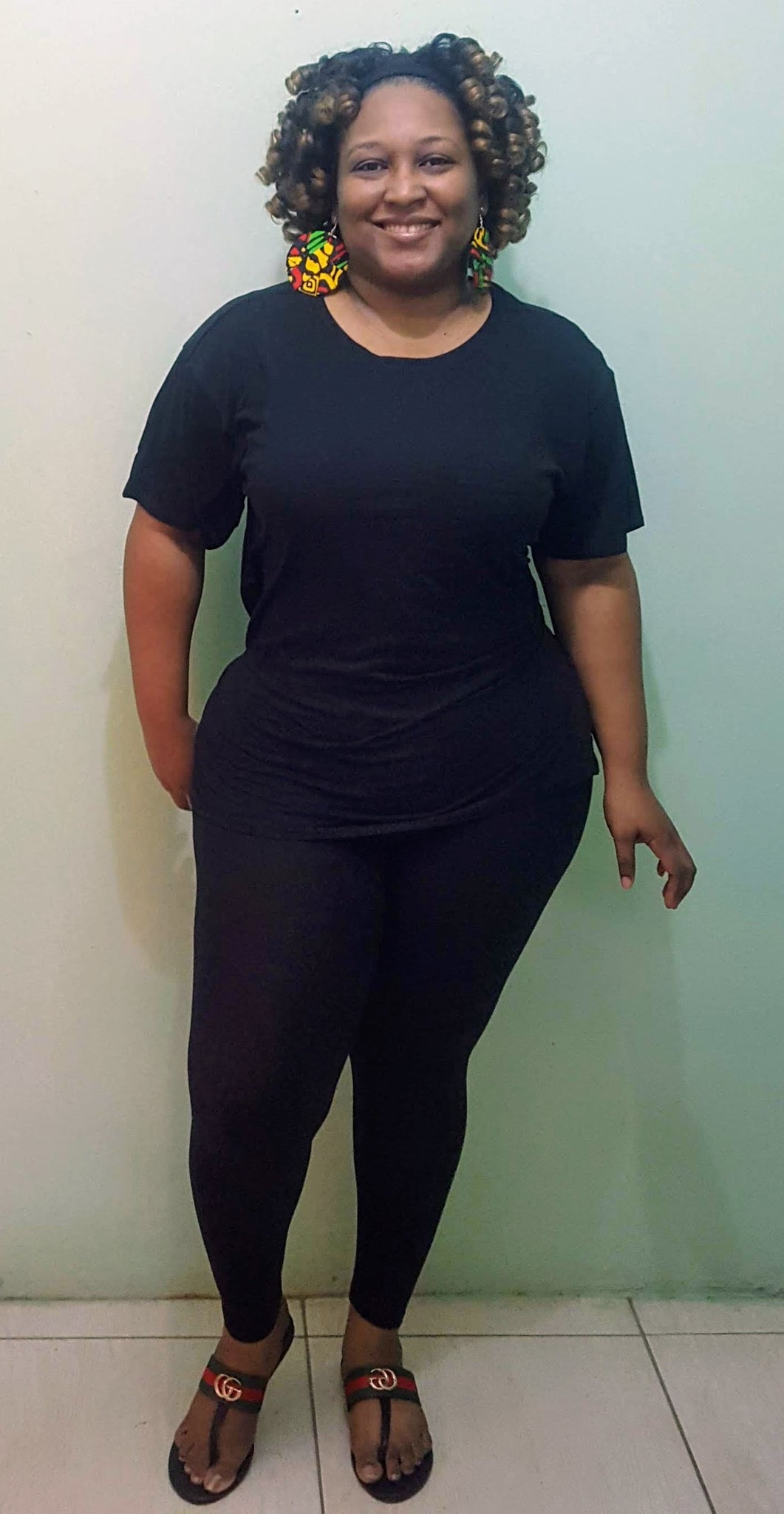 High Waist Long Leggings - Black Plus Size