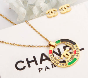 CC Tri Color Necklace and Earring