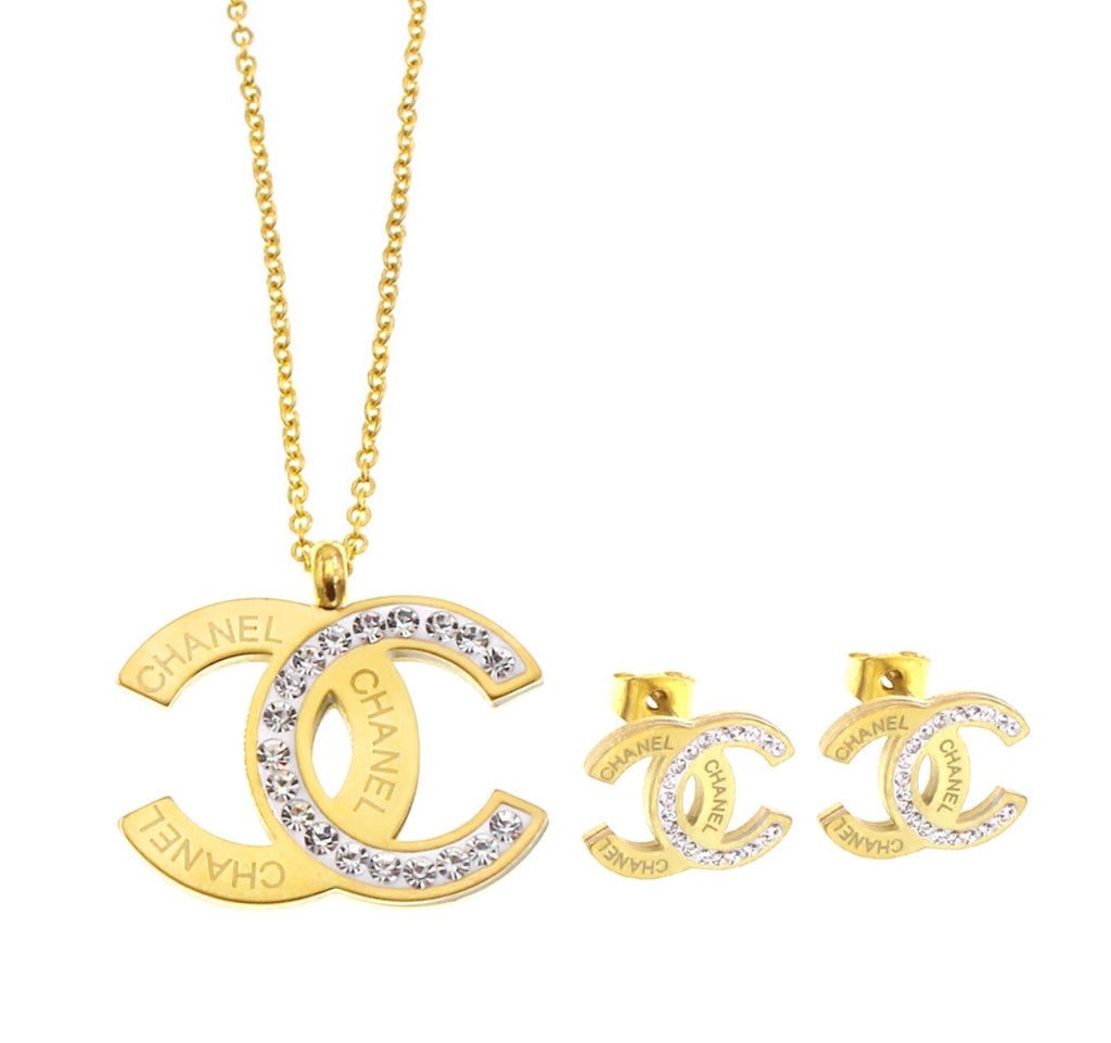 CC Gold and White Necklace and Earring