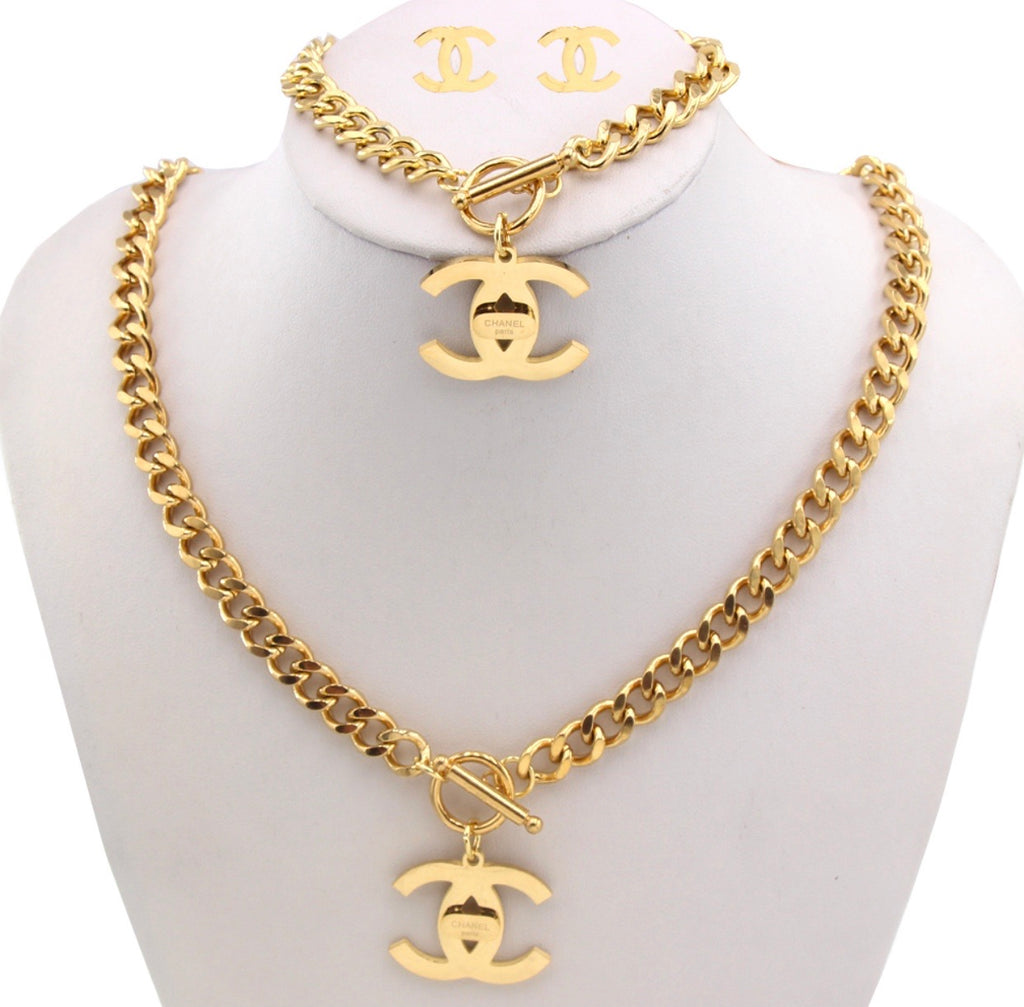 Chanel CC Necklace, Hand band and Earring