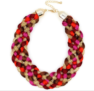 Pink Weave Necklace