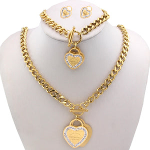 Tif & Co Double Heart Rhinestone Necklace Hand Band and Earring Set