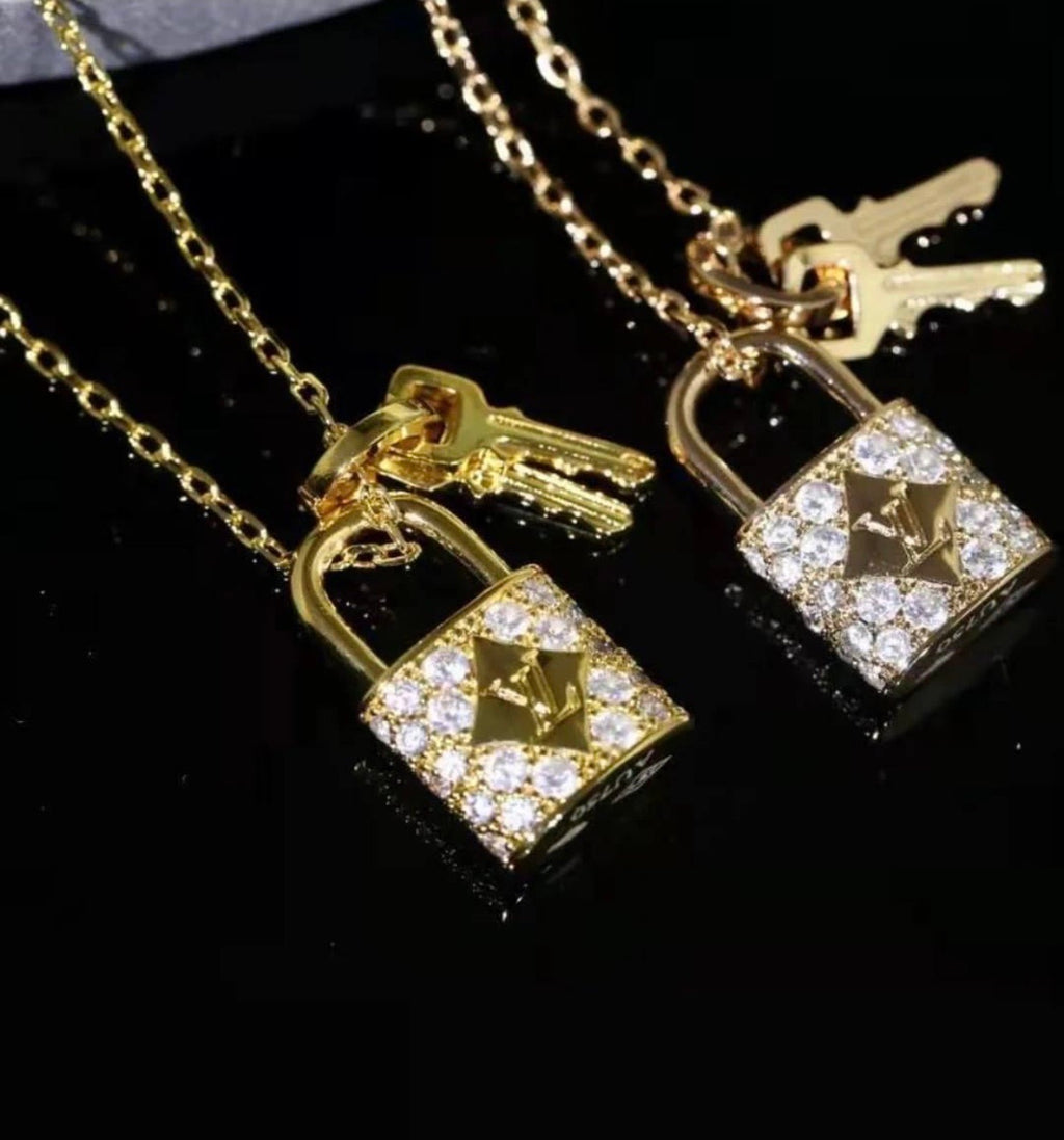 Lv Lock and Key Necklace