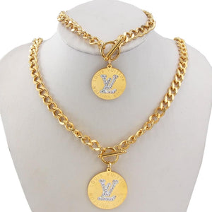 LV Rhinestone Necklace and Hand band