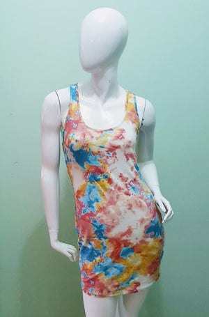Tie Dye Tank Dress - Pastel Regular Size