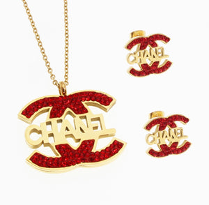 Red and Gold CC Necklace and Earring