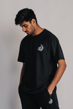 B&W STICHED T-SHIRT - BLACK