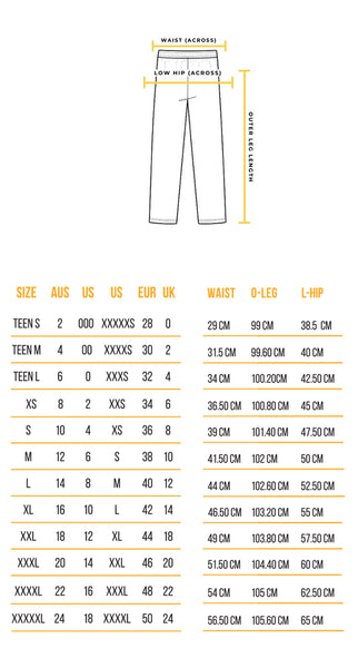Recovawear Pants Sizing guide