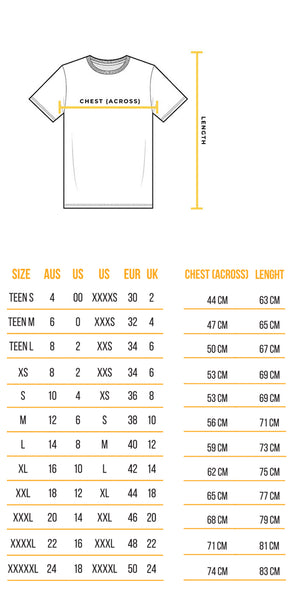 Recovawear T-shirt Sizing guide