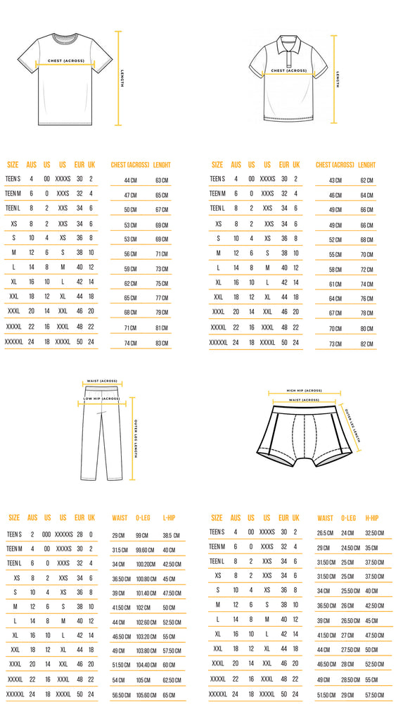 Recovawear Sizing guide