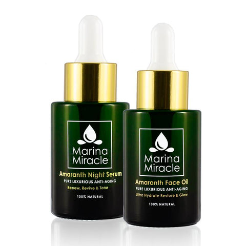 Amaranth Night Serum og Amaranth Face Oil 28 ml grønn flassflaske med pipette