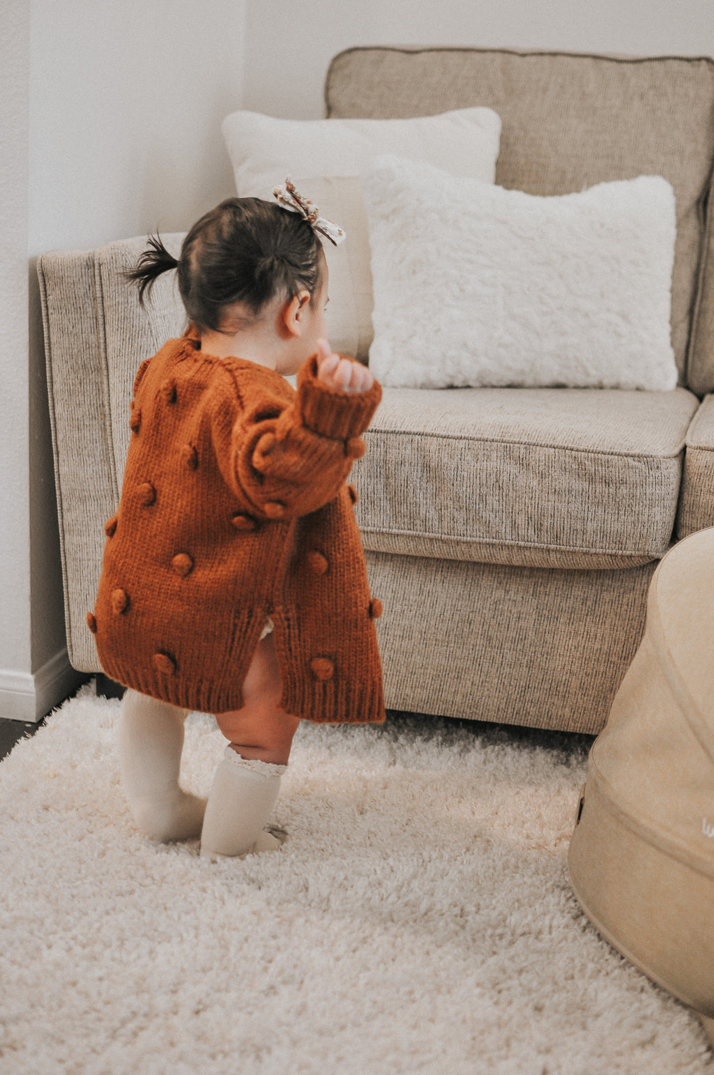 Brown Pom Pom Sweater