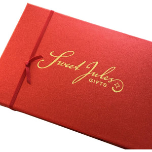 Red Satin Box Jules of Paris Caramels