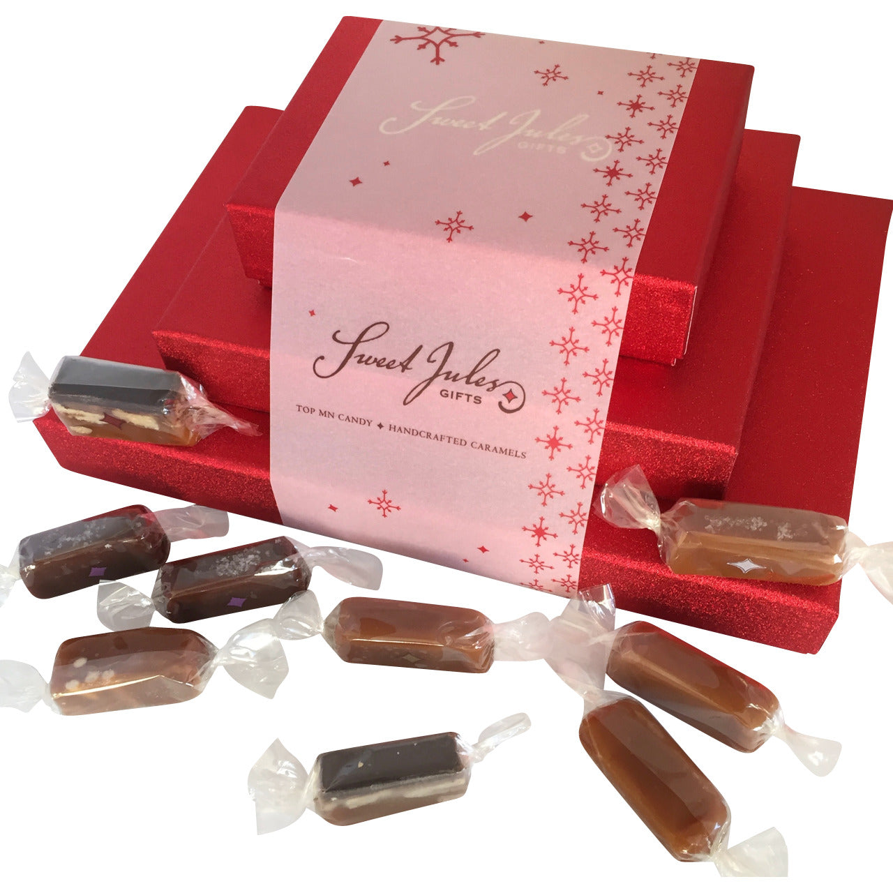 Tower of Caramels in Red Satin Boxes