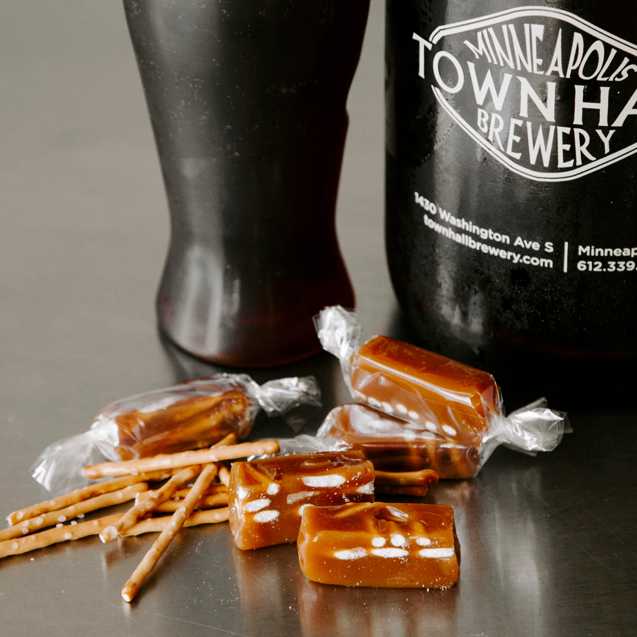 pub crawl caramels from Sweet jules gifts top beers from Minnesota large box has 32 caramels