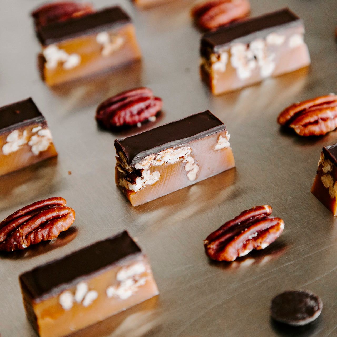 Award-winning Dark Chocolate & Pecan Caramels