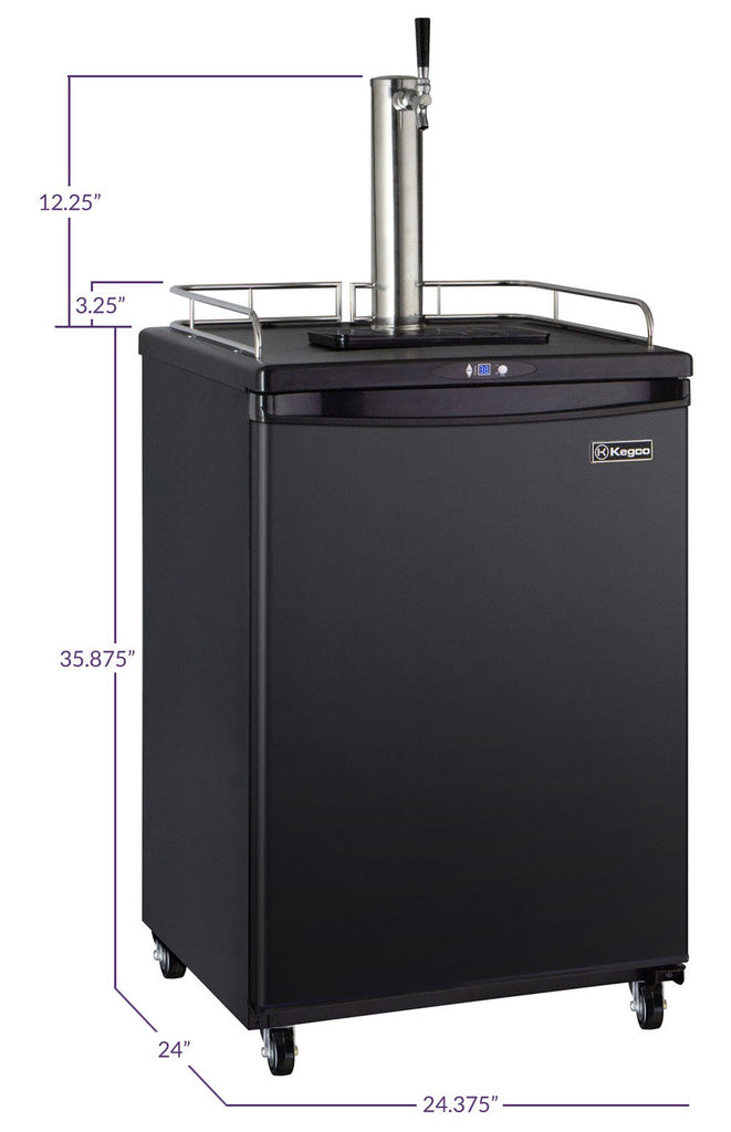 "Kegco HBK163B-1NK 24"" Wide Homebrew Single Tap Black Commercial/Residential Kegerator"