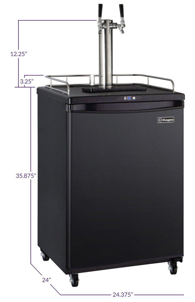 "Kegco HBK163B-2NK 24"" Wide Homebrew Dual Tap Black Commercial/Residential Kegerator"